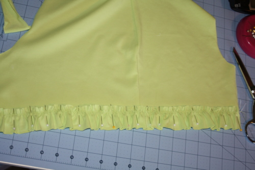 first sew the lower ruffles